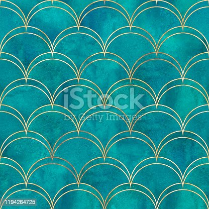 istock Mermaid fish scale wave japanese seamless pattern 1194264725