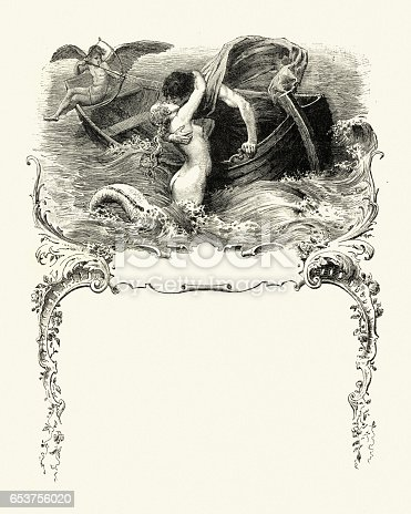Vintage engraving of a Mermaid kissing a sailor as cupid fires his arrow