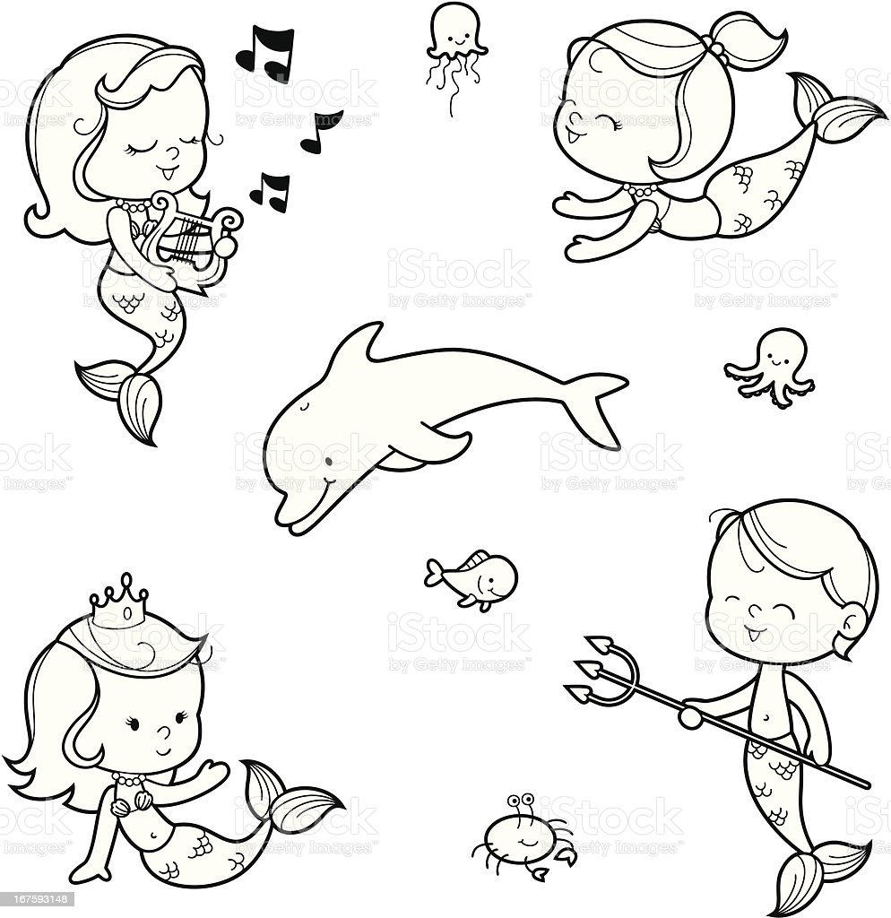 Mermaids coloring set vector art illustration