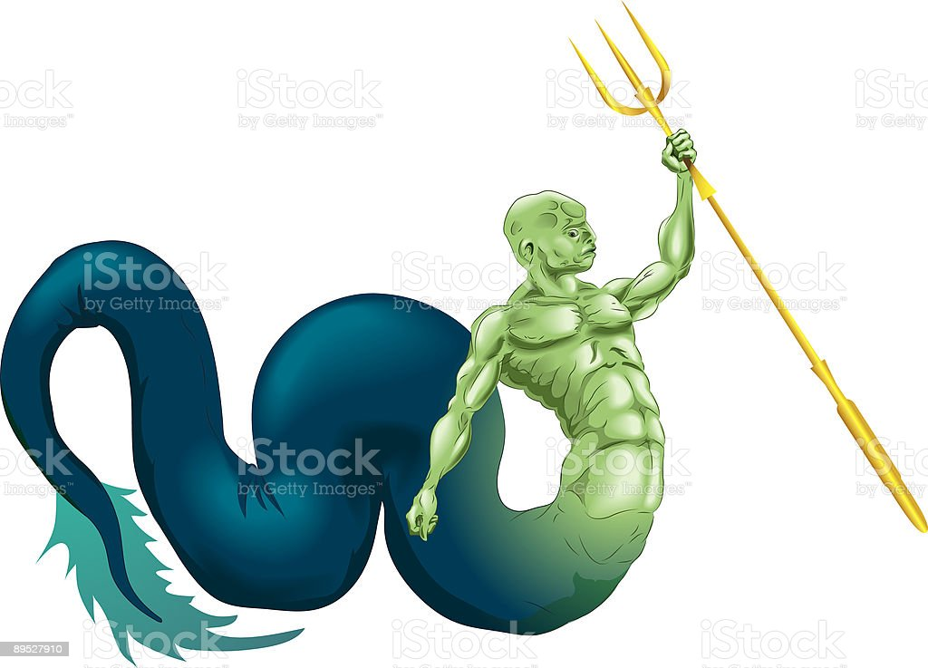 Merman or Poseidon royalty-free merman or poseidon stock vector art & more images of animal