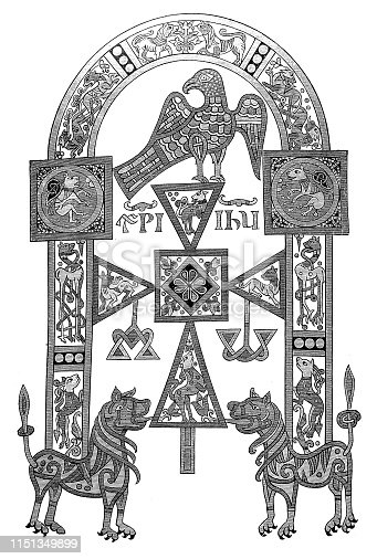 Illustration of a Meroving manuscript decoration ,symbolic arch in the manuscript ,it contains Augustine's explanation of the first seven books of Scripture