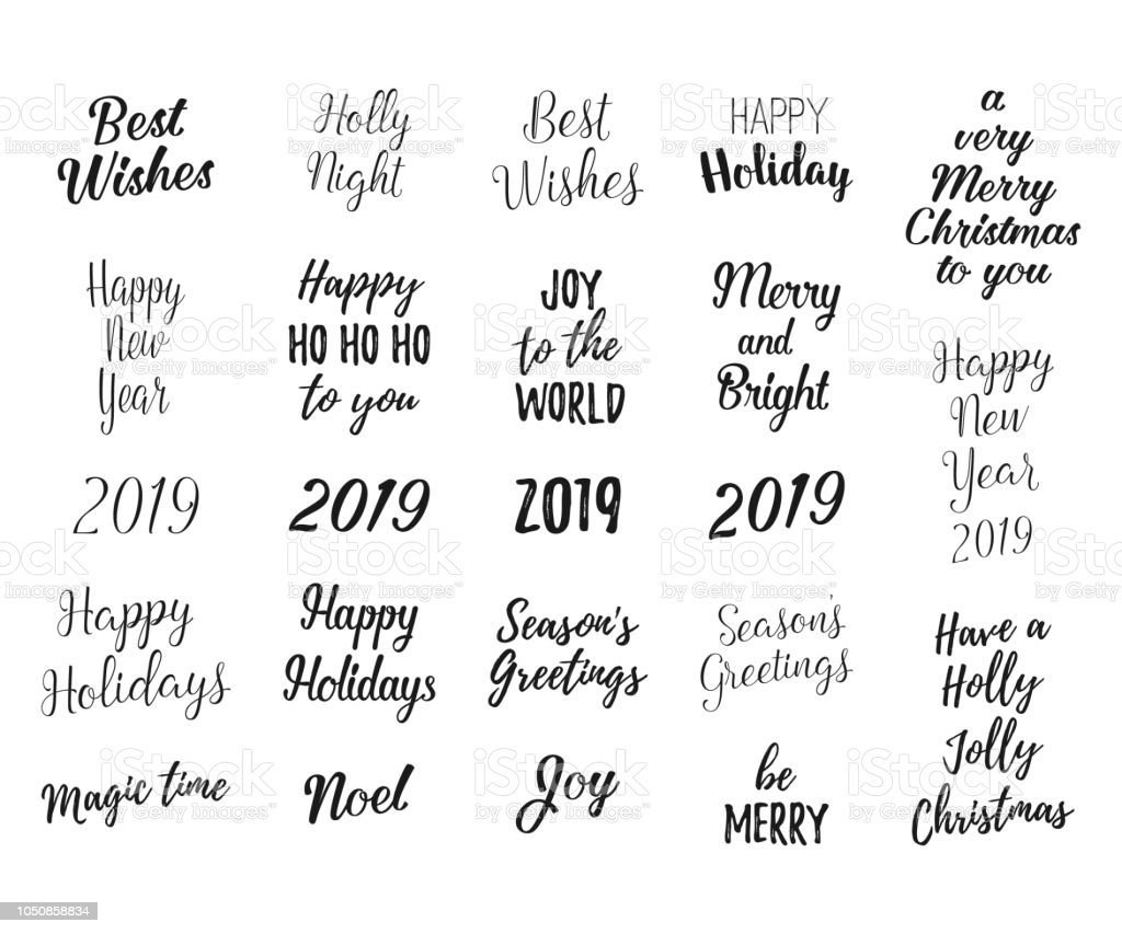 merry and bright christmas happy holidays happy new year labels emblems logo