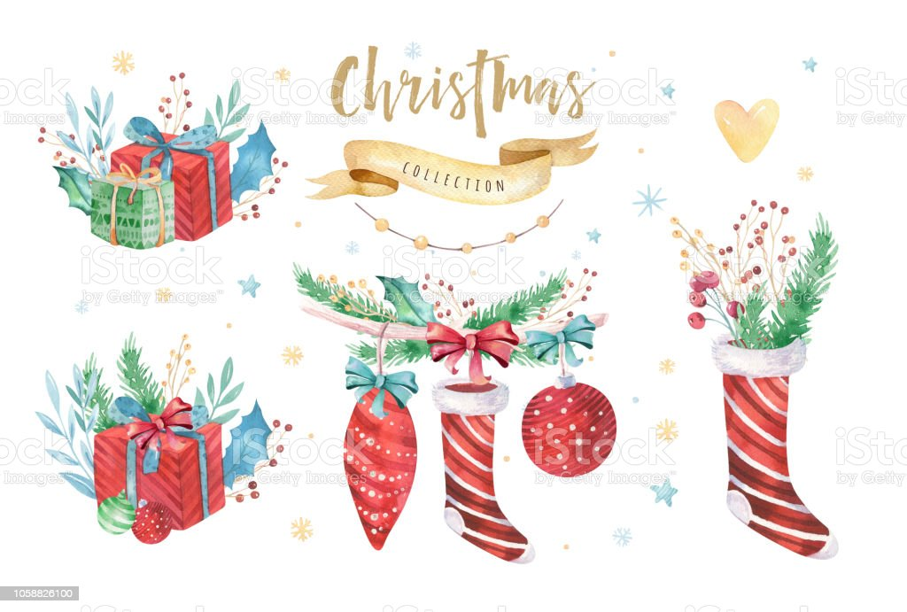 Deko Weihnachten 2019.Frohe Weihnachten Und Ein Glückliches Neues Jahr 2019 Dekoration Winter Set Aquarell Urlaub Hintergrund Xmaselementkarte Isolierte Elemente Stock