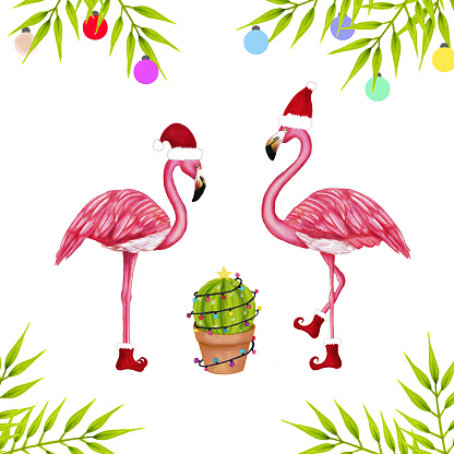 Merry Christmas background. Happy pink flamingo in a Santa hat and cactus in garland. Cute Navidad greeting card, print, label, poster, sign. Hand drawn mexico design.