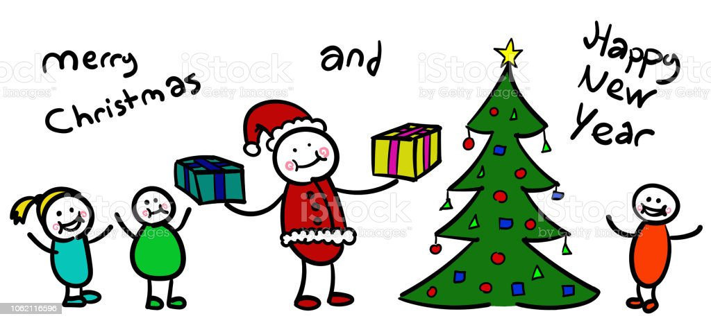 Christmas Celebration Images For Drawing.Merry Christmas Celebration With Children And Santa Claus