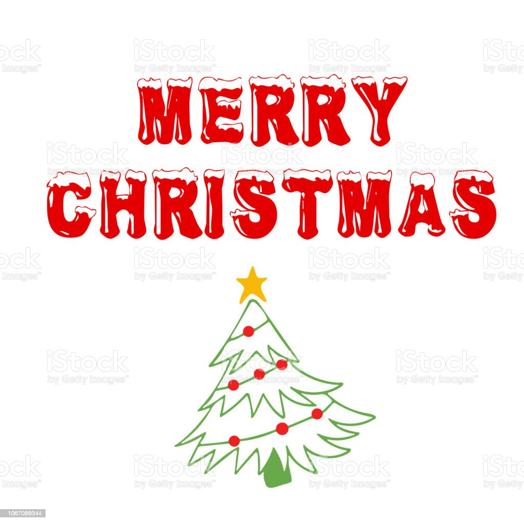 Merry Christmas Greeting Card Design Template Layout On White