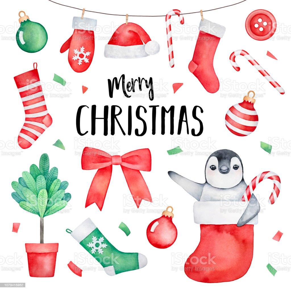 Ilustración De Feliz Navidad Tarjeta De Felicitación Con