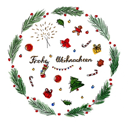 Merry Christmas (Frohe Weihnachten in German) hand drawn watercolor Christmas wreath