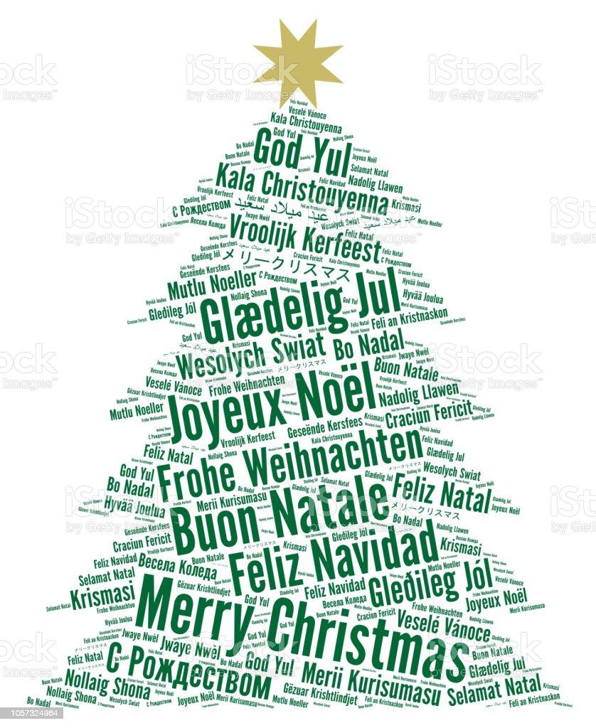 Frohe Weihnachten In Allen Sprachen.Frohe Weihnachten In Verschiedenen Sprachen Wortwolke Stock