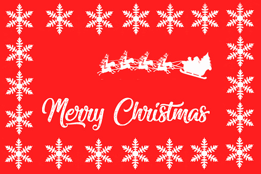 Merry Christmas in white letters on a red background, decorated with Christmas motifs