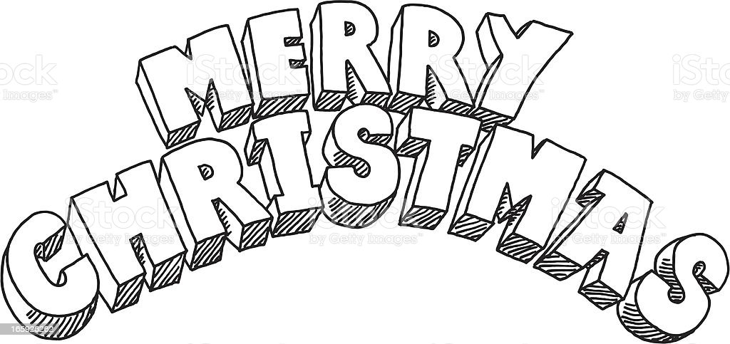 Merry Christmas Lettering Drawing Stock Vector Art Amp More