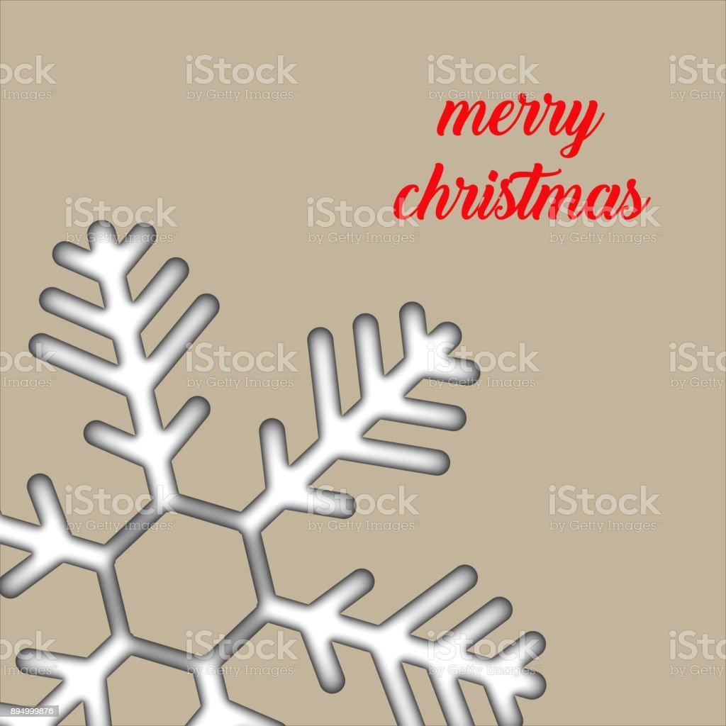 Merry Christmas - Paper Christmas snow vector art illustration