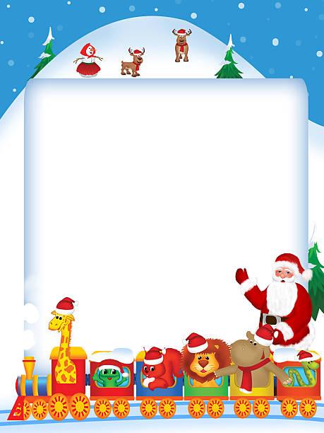 Merry christmas train with cartoon animals vector art illustration