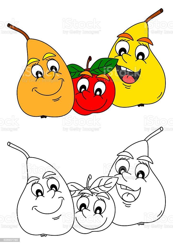 Ilustración de Feliz Pera Y Manzana Como Para Colorear Libros Para ...