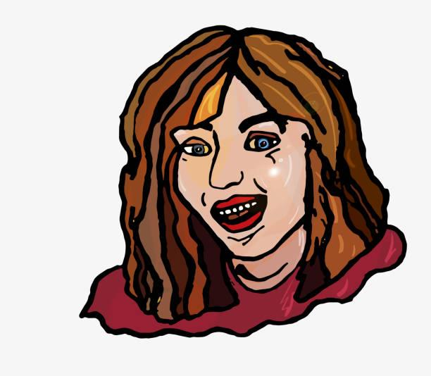 illustrazioni stock, clip art, cartoni animati e icone di tendenza di merry simple girl laughs open smile teeth - smile woman open mouth
