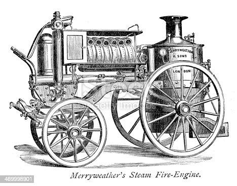 Vintage engraving of Merryweather's Steam Fire Engine. 1884