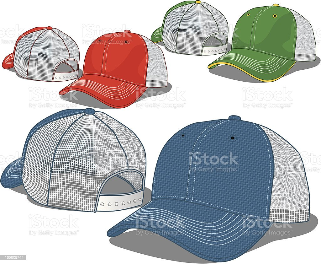 Mesh Baseball Caps vector art illustration