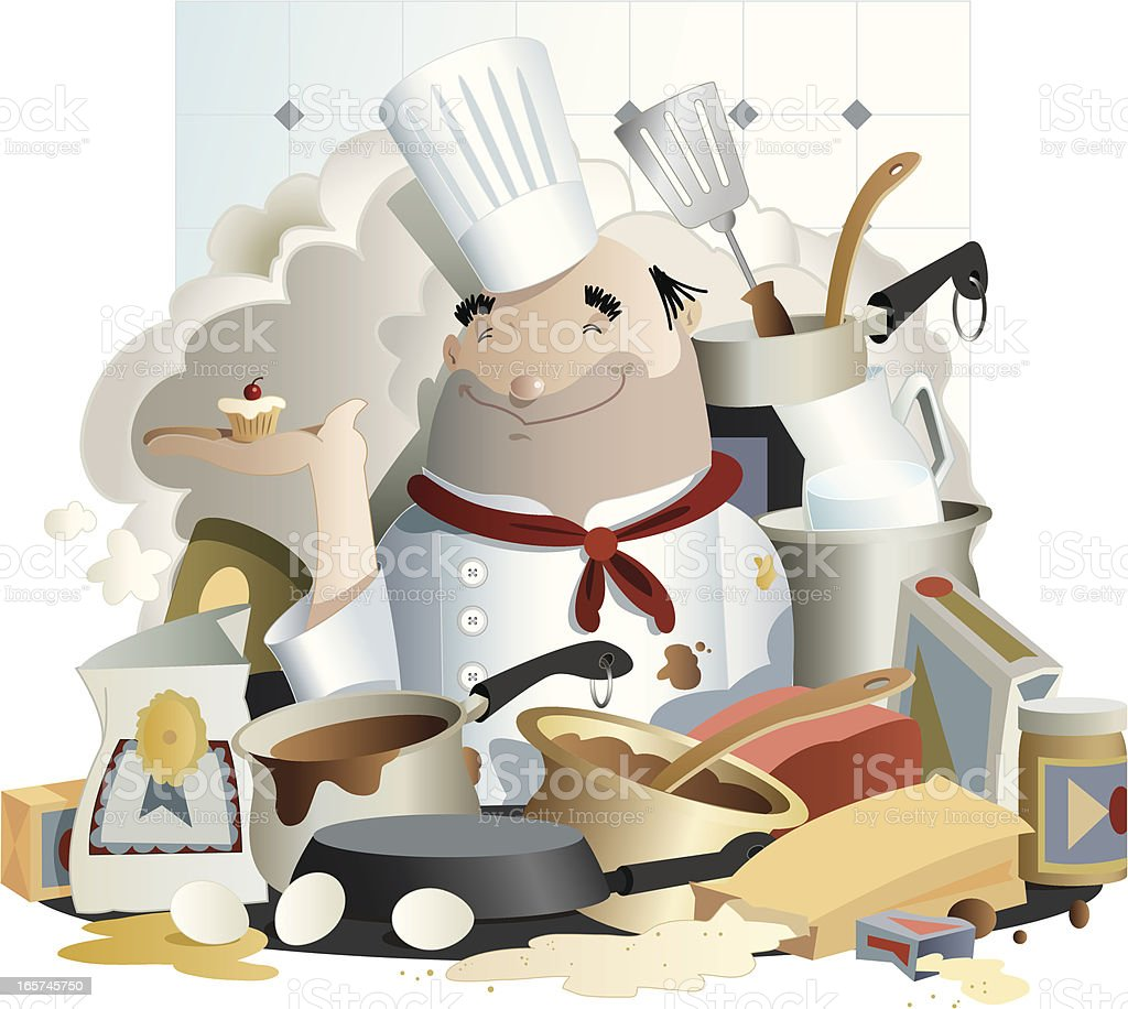 Chef Messy: Messy Chef Stock Vector Art & More Images Of Baked Pastry