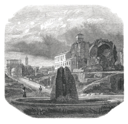 19th century illustration of Meta Sudans, the temple of Venus in Rome and the arch ot Titus. Original artwork published in Le magasin Pittoresque by M. A. Lachevardiere, Paris, 1846.