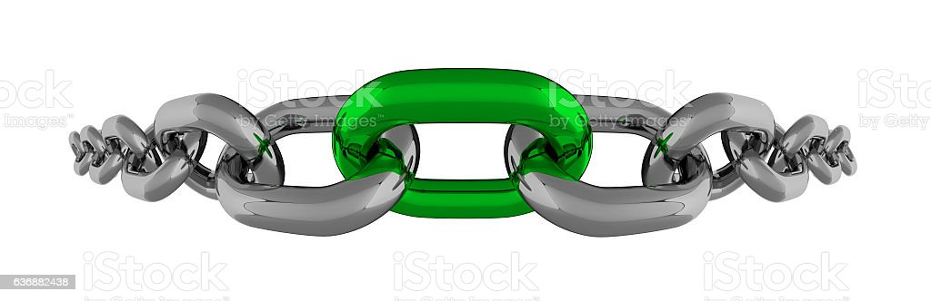 Metal Chain Fisheye Line With Green Element Isolated vector art illustration