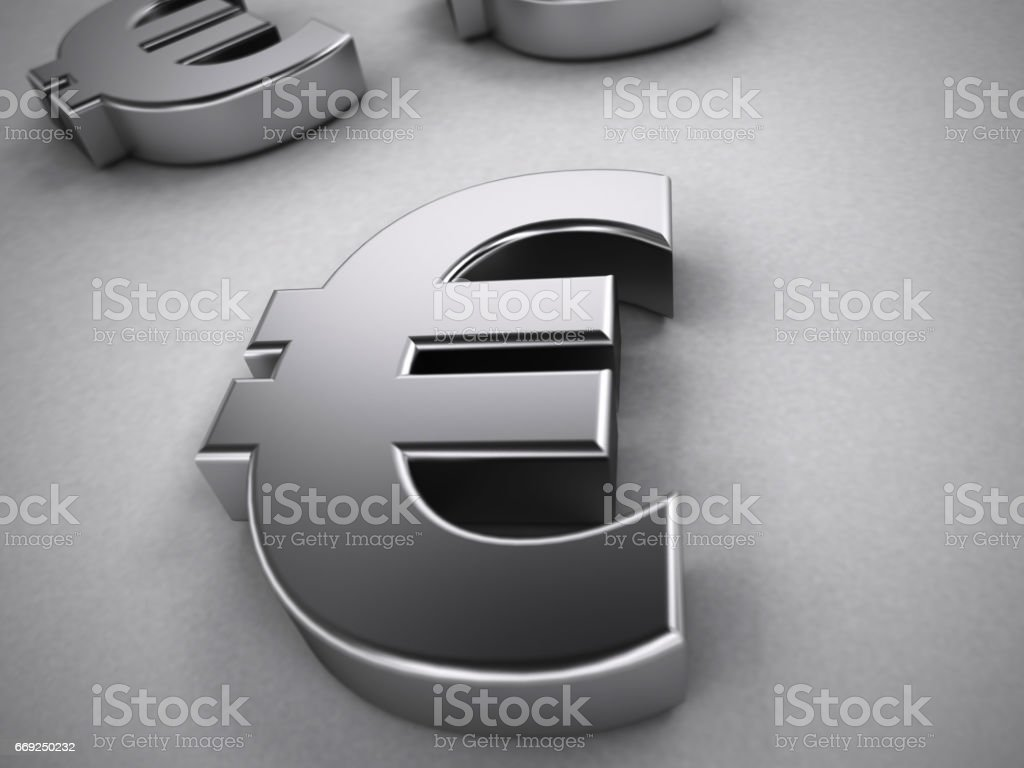 Metal Euro Symbol Isolated On White 3d Render Stock Vector Art