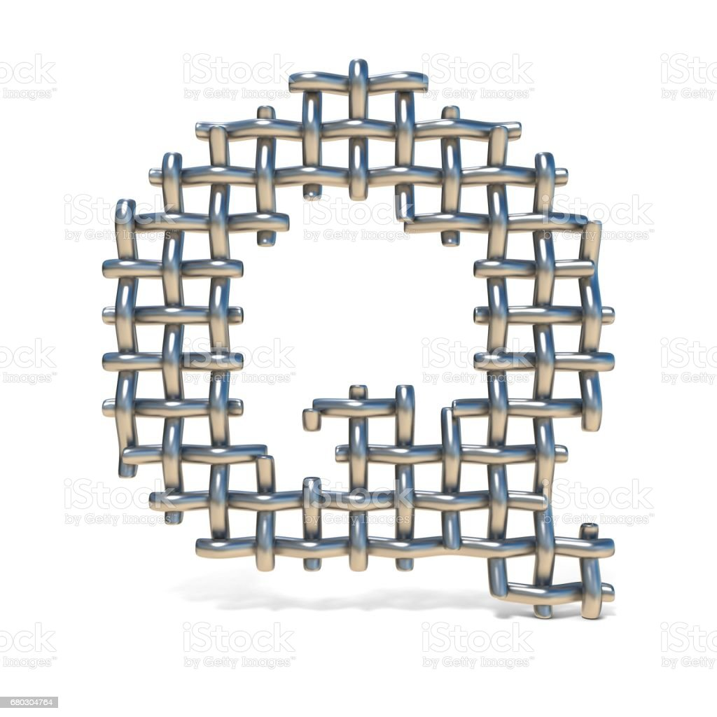 Metal wire mesh font LETTER Q 3D royalty-free stock vector art