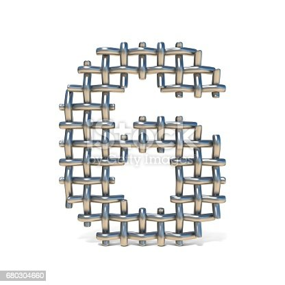istock Metal wire mesh font Number 6 SIX 3D 680304660