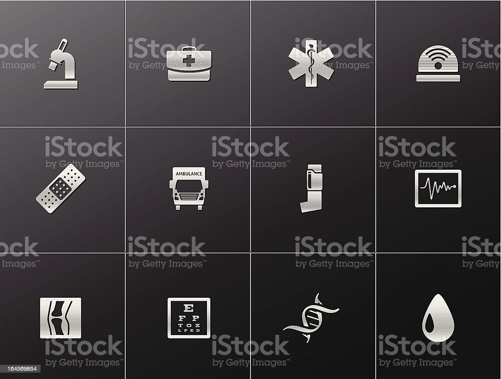 Metalic Icons - More Medical royalty-free metalic icons more medical stock vector art & more images of accidents and disasters