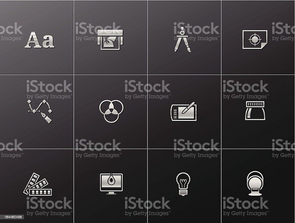Metallic ícones -Printing & Design gráfico - ilustração de arte em vetor