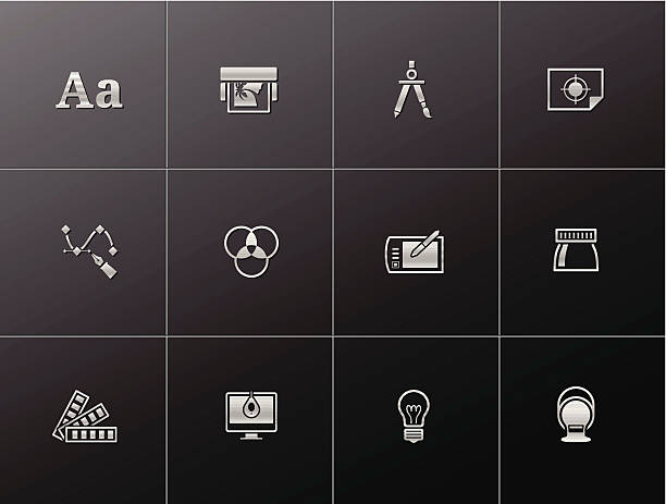 ilustrações, clipart, desenhos animados e ícones de metallic ícones -printing & design gráfico - fontes e tipografia