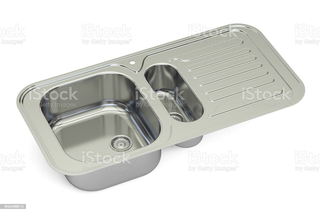 metallic kitchen sink, 3D rendering vector art illustration