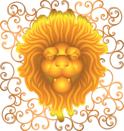 metallic lion head with ornaments