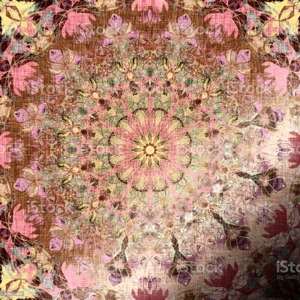Metallic pink Indian pattern with tribal traditional elements vector art illustration