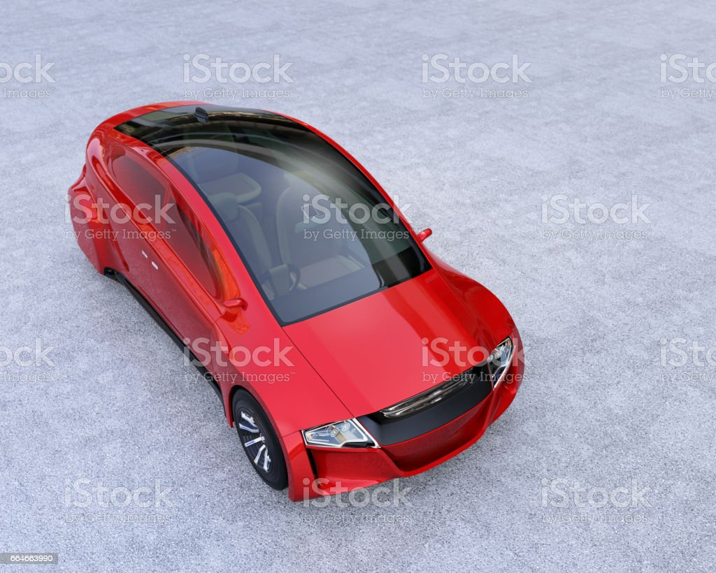 Metallic red autonomous vehicle on concrete ground vector art illustration