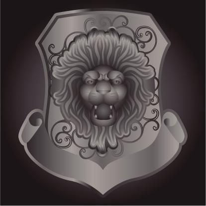 metallic shield with lion head
