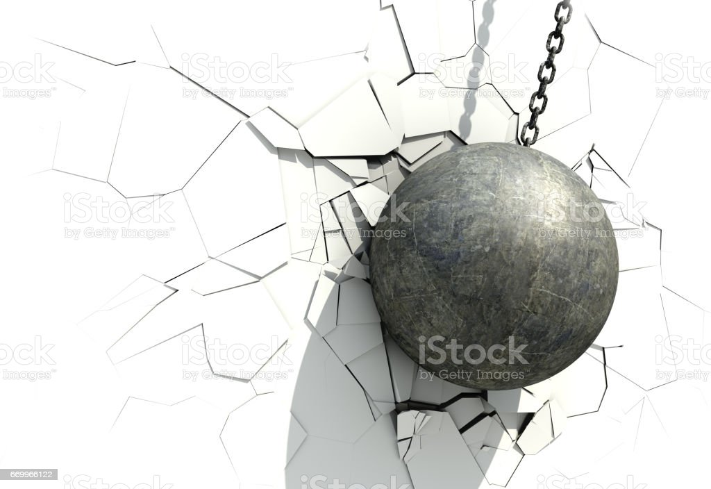 Metallic Wrecking Ball Shattering The White Wall vector art illustration