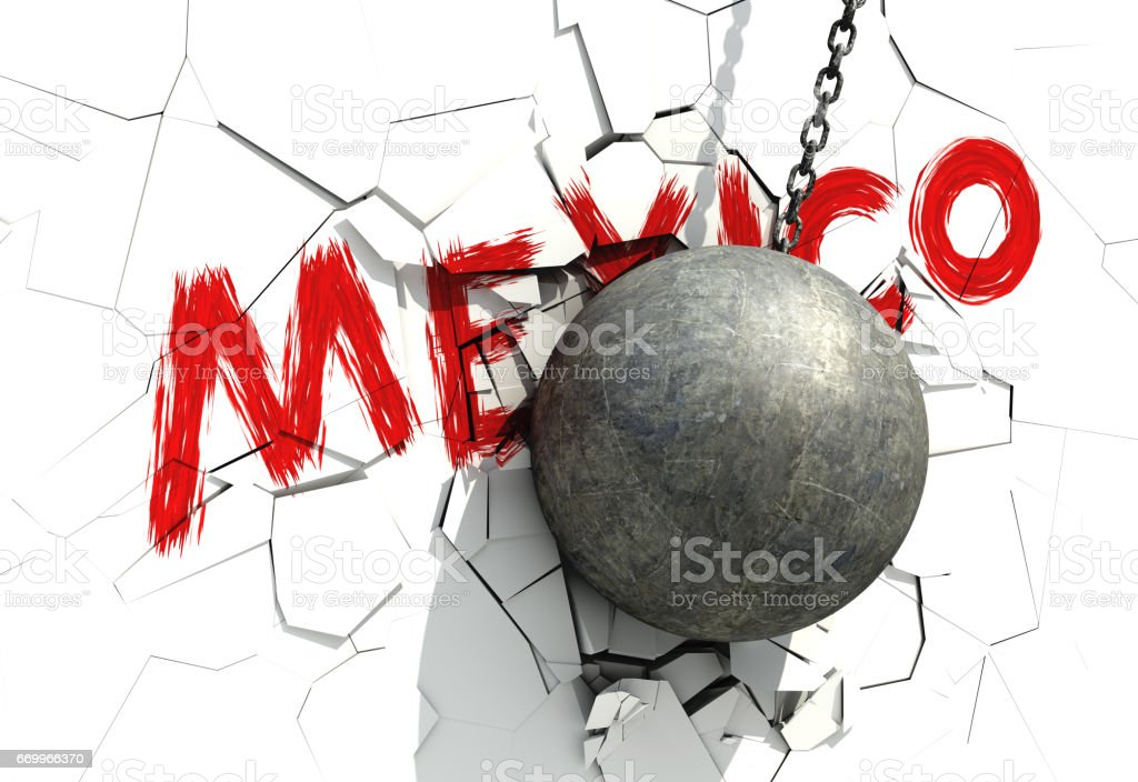 Metallic Wrecking Ball Shattering White Wall With Red Inscription vector art illustration