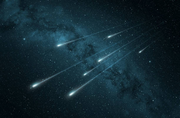 meteor shower in the night sky vector art illustration