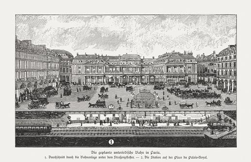Metro Station Palais Royal in Paris, wood engraving, published 1895