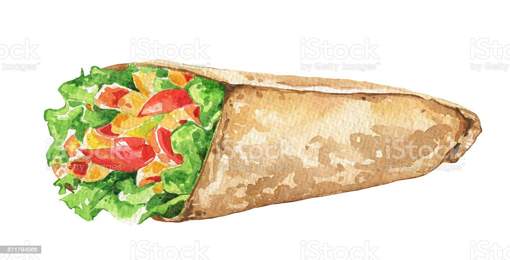 Mexican burrito with vegetables. Traditional Mexican food. vector art illustration