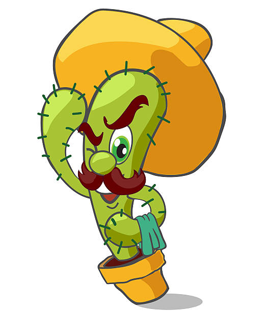mexican cactus waiter  mexican restaurant stock illustrations