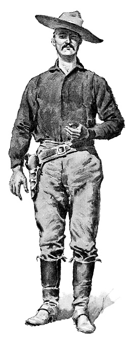 Portrait of a Mexican cowboy. Vintage etching circa late 19th century.