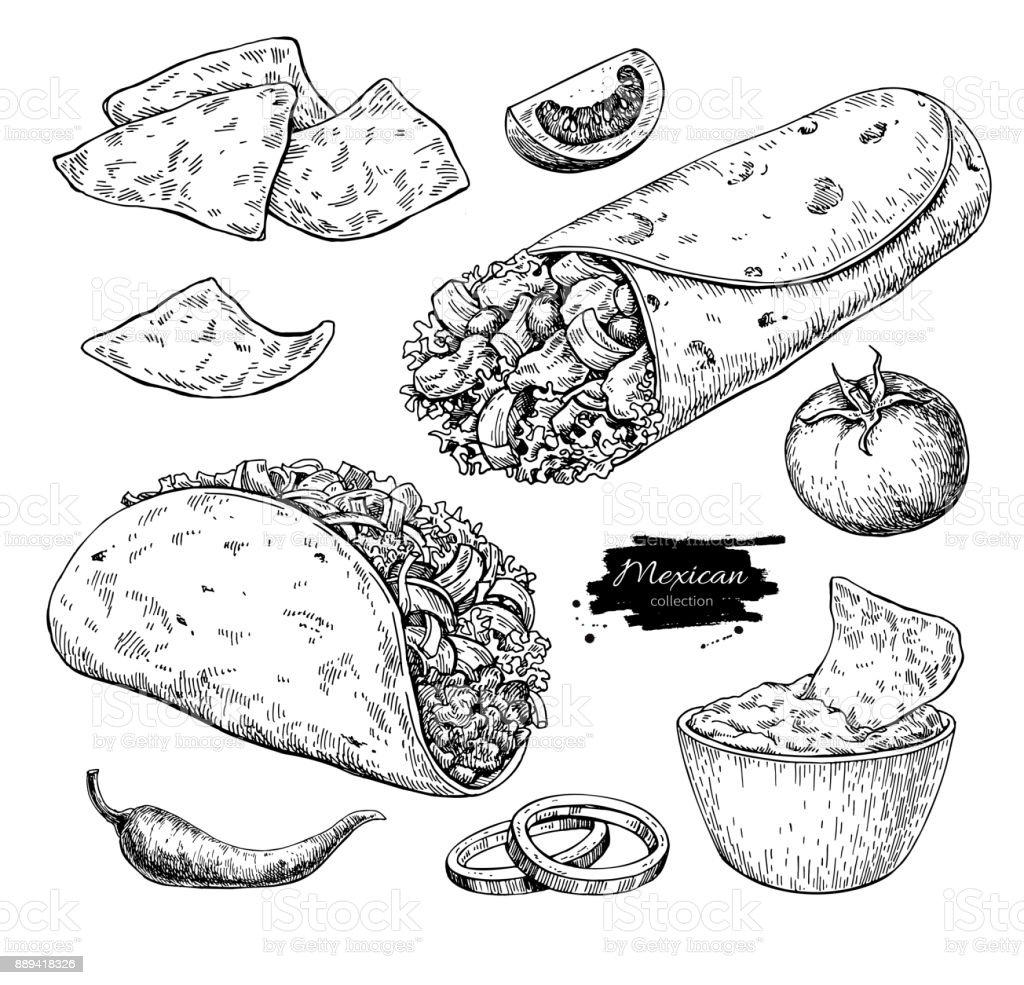Bocetos De Tatuajes Tradicionales ilustración de dibujo de la comida mexicana ilustración de