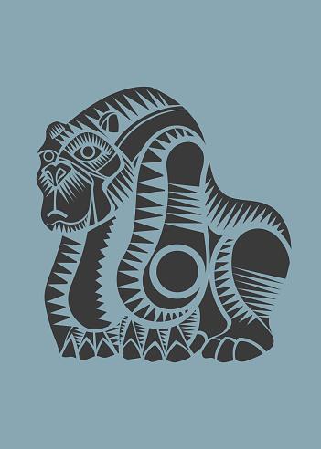 Mexican gorila hand drawn vector illustration