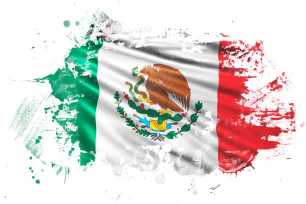 ilustraciones, imágenes clip art, dibujos animados e iconos de stock de bandera de grunge mexicano tinta - bandera mexicana