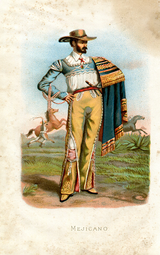 Mexican man standing in traditional clothing 1887