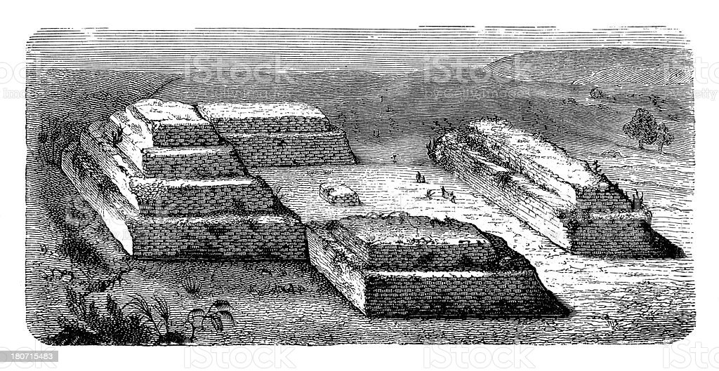 Mexican religious site (antique wood engraving) royalty-free stock vector art