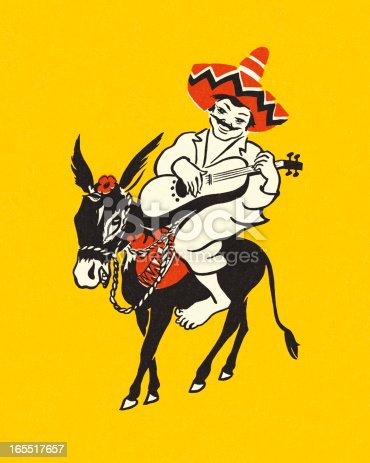 Mexican Riding a Burro