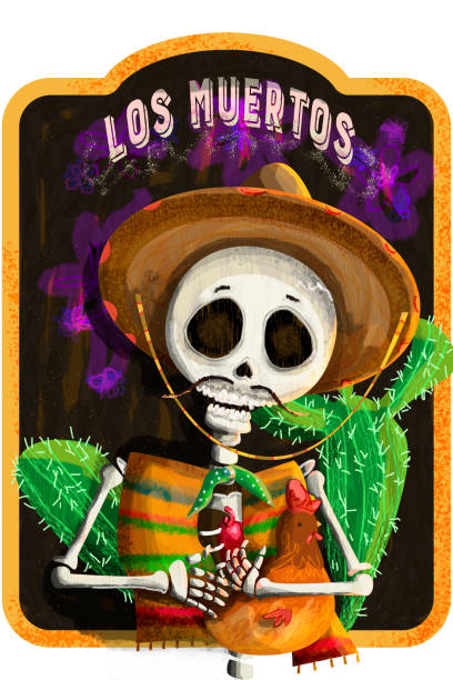 Mexican skull with pet chicken in his arms Illustration of skull to celebrate the day of the dead, traditional Mexican party pedreiro stock illustrations