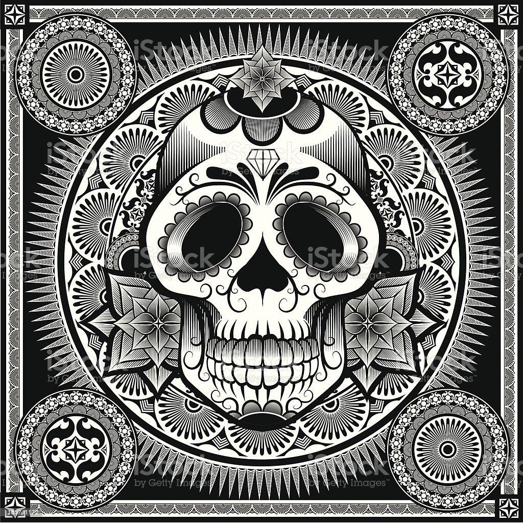 Mexicana azúcar cráneo - ilustración de arte vectorial